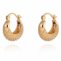 Wholesale New Fashion K Gold Filled Earring CC Gold Plated Simple Design Jewerly Small Hoop Earrings Craved Women Best Gift