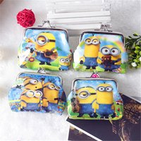Wholesale DHL Free Brand new Coin Purses Minion Square Hasp PVC Coin Purse Girls Minions Wallet Chilldren Despicable Me Party Supplly