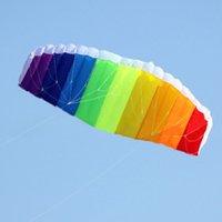beach wheels - 140 CM Outdoor Rainbow Sports Beach Kite Power Dual Line Stunt Parafoil Parachute
