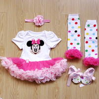 Cheap Free Shipping Summer Clothing Baby Girls Dress Lovely Tutu Rompers With Mickey Mouse Minnie Dress+Leggings+Shoe+Headband Baby Clothes Set