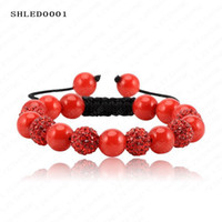 Wholesale Shamballa Bracelets Valentines Day - Valentines Day Gift 10mm Crystal AB Clay Ball (6pcs) Shell pearl balls AB Clay Disco balls Shamballa Bracelet SHLEDmix1