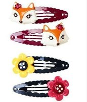 gymboree - kids hair Barrettes flower and fox gymboree hairbows hairpins hairclips baby toddlers girls hair accessories hair bows hair clips hair pins