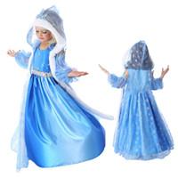 Cheap Cartoon Frozen Elsa Anna Princess Dress set Halloween Costume Kids Lace Gauze Long Sleeve Hooded Skirt Blue Child Dress A072533