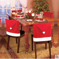Wholesale christams chair cover red chair covers for christmas cm Christmas Decorations Navidad Adornos Dinner Decor Chair Sets Gift m0481