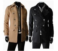 Wholesale fall winter Fashion New men trench coats Korean slim fit casual wool coat outwear men s clothing