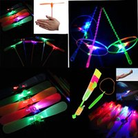 Wholesale LED Sling Shot Led Amazing Arrow Toy Helicopter Copter Flying Light up Kids Flying Toys Outdoor
