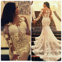 mermaid gowns - 2015 Sexy Mermaid Lace Wedding Dresses with Long Transparent Sleeves Crew Neck Appliques Ruffles Vintage Arabic Wedding Party Prom Gowns