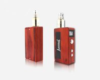 Wholesale 2015 Original Red Wood box mod Unik w w w w Luxyoun wooden mod V V e cig mod fit battery with gift box DHL free