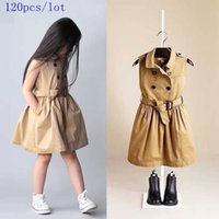 baby girl dustcoat - New style Baby girls Cotton sleeveless double breasted dustcoat dress with pockets with belt Spring Summer Autumn