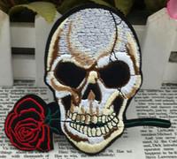 al por mayor subió parches de hierro-3,9 pulgadas de rosa cráneo bordado remiendo de hierro en patches cráneo y huesos de tela garantizado punk Appliques coser en el parche GPS-010