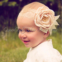 lace headbands - Fashion Fabric Flowers Head Bands Infants Childrens Accessories Flower Headbands For Girls Baby Hair Accessories Lace Headband C16932