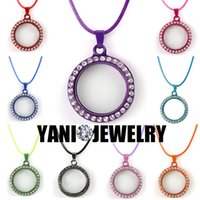 Wholesale Living Memory Glass Locket Necklaces Colorful Round Alloy Floating Locket with white Rhinestone with Free Chain mm Round