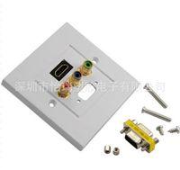 audio wall panel - Multimedia panel set top box Lotus audio video RCA HDMI audio VGA HD free solder wall socket