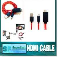 achat en gros de hdmi to usb converter-Câble HDMI MHL câble Full HD 1080P Micro USB MHL (11pin) Pour OPP HDMI HDTV Adapter Converter Mobile Phone câble numérique Package
