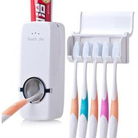 bathroom accesory - Toothpaste Dispenser Bathroom Automatic Free Brush Holder Set Wall Mount White Red Useful Family Accesory Toothbrush Rack