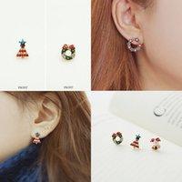 bell earring backs - Cute little Christmas wreath bell earrings ear clip earrings non pierced earrings Korean jewelry Christmas gifts