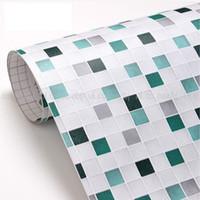PVC bathroom mosaic tile designs - PVC mosaic wallpaper bathroom wall paper waterproof tile stickers wallpaper for kitchen decoration