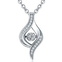 Wholesale Dancing Diamond Sterling Silver Fashion Necklaces for Women Gift Fine Jewelry with AAA Cubic Zirconia Rhodium Plated DP57220A