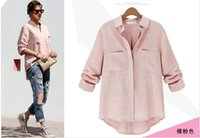 Wholesale 2015 New Fashion Women s Blouse Double Pocket Casual Shirt Women s Clothing Pink White Color Size S XL