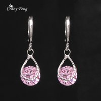 Wholesale Crazy Feng Drop Dangle Earring Fashion Jewelry White Gold Plated CZ Crystal Round Cut Zircon Earrings For Women