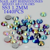 flat back gems - High shine non hot fix rhinestones ss3 mm AB assorted color flat back glue on rhinestone gems