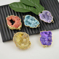 Wholesale 10pcs Druzy Geode drusy pendant k Gold plated Edge Mixed Color Connector Beads Jewelry making