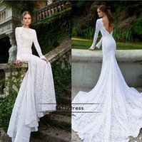 Wholesale 2015 Fascinating White Lace Wedding Dresses Bateau Neck Long Sleeves Backless Sexy Vintage Mermaid Court Train Bridal Gowns