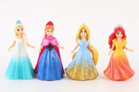 Wholesale 2016 Gift for Kids Princess Toys Snow White Frozen Anna Elsa Action Figures Frozen Dolls Dress Up Toys Princesses per Set