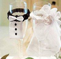 Wholesale Hot Sales pair Bride Groom Tux Bridal Veil Wedding Party Toasting Wine Glasses Decoration
