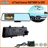 "Cheap 4.3"" Dual Camera Allwinner F20 HD rear view mirror car dvr 1080 FHD Blue Mirror Car camera H.264 120degree Angle+GPS+G-Senser"