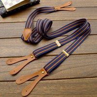 Wholesale Retro Striped Elastic Clip on Braces Suspenders Mens Button Suspenders cm with buttons pc