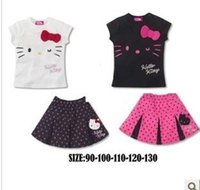 cat - Summer Girls KT Suits new KT cat Short sleeved Tshirt shorts dress baby clothing color C001