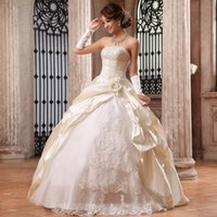 Cheap Chinese 2014 Ivory Stretch Satin Ball Gown Wedding Dresses Strapless Bridal Gowns With Beads Hand Made Flowers Lace Applique Dress N234N