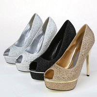 Wholesale Silver Beaded Peep Toe Heels - Crystal Rhinestone Gold Wedding Dress Silver Shoes Open Peep Toe High Heels White Women Lady Cocktail Evening Bridal Accessories 2015 Cheap