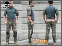 Cheap Wholesale-8 Color Airsoft EMERSON Navy Seals Shirts & Pants Combat Set Summer Edition Knee Pad short sleeve AOR2 Woodland Marpat EM6902