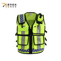able screen - 2016 NEW HONGKONG STYLE Reflective vest Lattice screen cloth Safety vest Traffic police zipper reflective vest print able