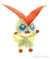 best japanese cartoon - 33cm Pocket Monster Cute Victini Plush Toys For Children Retail Victini Plush Doll Stuffed Victini Best Birthday Gift Japanese Anime Cartoon