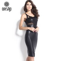 accent leather - OASAP Dress Summer Women Black Faux Leather Mesh Accent Midi Dresses PU Sexy Bodycon Women s Party Clubwear