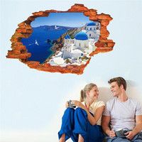 art towns - seashore small town landscape through the wall stickers room decor F home decals pvc mediterranean mural art posters home decoratio