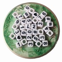 Wholesale Direct Sell White with Black Printed MM Square Number Beads Acrylic Cube Alphabet Letter Beads For Bracelet Keychain