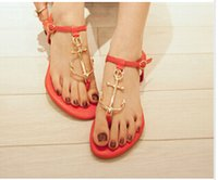 summer shoes - 2015 Hot New Summer Lady Anchor Flat Sandal womens Pirates Flip Metal Shoes T Strap Slipper