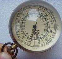 alarm pocket watch - CHINESE vintage BRASS GLASS From birth pocket watch BALL clock working