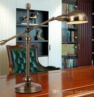 Wholesale European US Retro Rural Pure Copper Scalable Desk Lamp Floor Lamp Telescopic Pure Cupper Table Lamp Retro Living Room Bedroom Table Lamp A2
