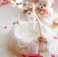 beauty basket - Beauty New White Wedding Flower Basket Bridal Accessories Portable Basket Hand Basket Lace Edge cestas de casamento