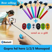 Wholesale new Extendable Self Portrait Selfie Stick Handheld Monopod Wireless Bluetooth Remote Shutter Control for IOS Android Phones