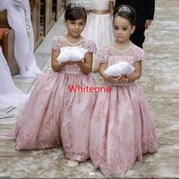 big satin flowers - Custom Made Pink Lace Wedding Flower Girl Dresses With Short Sleeves Backless Big Bow Cheap Summer Little Girls Princess Ball Gowns