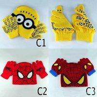 Boy cotton knitted gloves - 2016 New Despicable Me Kids Knitted Hat And Glove Spider Man Minions Caps Set Children Cute Fingers Glove Christmas Gift