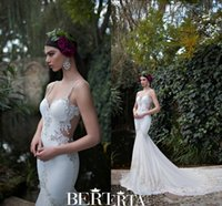 Cheap Berta 2015 Romantic Applique Mermaid Lace Wedding Dresses Bridal Gowns Chapel Train Sexy V Neck Custom Made Wedding Dress With Sleeveless