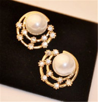 amazon diamond earrings - Amazon sellers han edition simple fashion starry sky flash diamond pearl earrings round diamond