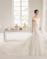 aire caps - 2015 Lace Sheath Wedding Dresses Off Shoulder Bridal Dress Aire AMATISTA Cheap Plus Size Wedding Gown Hand Made Flower Hot Sale